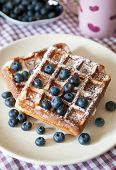 Breakfast With Belgian Waffles And Fresh Blueberry