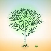 Vector Circuit Board Electronic Tree - Digital Technology Concept