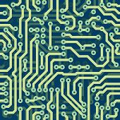 stock photo of circuits  - High tech schematic seamless vector texture  - JPG