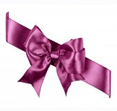 purple bow made from silk ribbon isolated