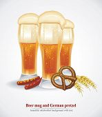 Beer mug with German pretzel. Beautiful Oktoberfest design. Vector illustration with your text
