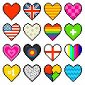 8-bit Assorted Pixel Hearts