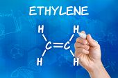 Hand with pen drawing the chemical formula of ethylene