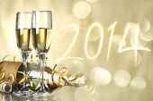 picture of crystal glass  - Glasses with champagne against fireworks - JPG