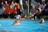 KAPOSVAR, HUNGARY - SEPTEMBER 15: Ronen Gros (13) in action at a Hungarian championship water-polo g