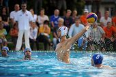 KAPOSVAR, HUNGARY - SEPTEMBER 15: Farkas Dory (7) in action at a Hungarian championship water-polo g
