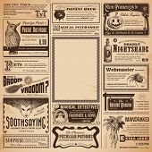 pic of wizard  - Halloween newspaper with classifieds and copyspace for your own text  - JPG