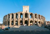 image of arena  - The Arles Amphitheatre Roman arena in French town of Arles - JPG