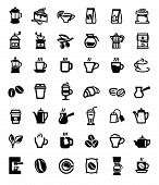 stock photo of latte  - vector black coffee and tea icons set on white - JPG