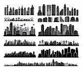 pic of city silhouette  - vector black city icons set on white - JPG