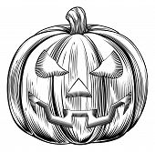 picture of lithographic  - An illustration of a Halloween pumpkin in a retro vintage woodblock or woodcut etching style - JPG