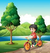 Illustration of a boy biking at the riverbank