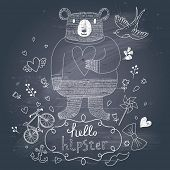 Funny hipster bear in flowers on chalkboard background in vector. Concept hipster card with bear, bicycle, bird, bow, mustache, hearts and flowers