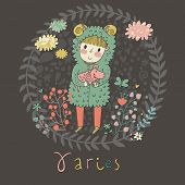 Cute zodiac sign - Aries. Vector illustration. Little boy riding with small ram. Background with flo