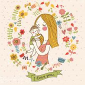 I love you postcard. Cute retro vector card with mother and child. Happy mothers day. Vintage floral background with woman and baby.
