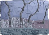 Illustration of a Cemetery Half-filled with Gravestones and Framed by Dead Trees Wrapped in a Thick Mist