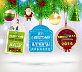 Collection of Vintage Retro Christmas Labels. Set of Xmas badges and holiday icons