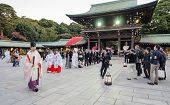 Tokyo, Japan-nov 20 :a Japanese Wedding Ceremony At Shrine