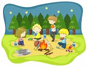stock photo of wilder  - Children campfire in the wilderness at night and having fun with dinner create by vector - JPG
