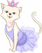 Illustration of a Cute Cat Wearing a Frilly Dress and a Tiara
