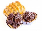 Set Of Tasty Tartlets With Chocolate