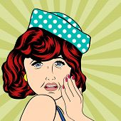 Pop Art Illustration Of A Sad Woman
