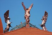 Copper Angels On The Top Of A Church