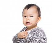 stock photo of scared baby  - Asia baby girl scared - JPG
