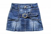 stock photo of denim wear  - Blue jean mini skirt isolated over white - JPG