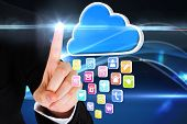 Digital composite of finger pointing to cloud with app icons