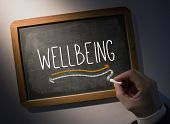 Hand writing the word wellbeing on black chalkboard