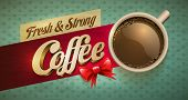 Vector cup of coffee and cakes on lace paper background with copy space for your text. View from abo