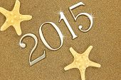 Year 2015 numbers on the sand