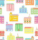 Vector Seamless Pattern With Houses.