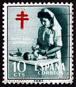 Postage Stamp Spain 1951 Nurse And Baby