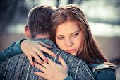 stock photo of conflict couple  - conflict and emotional stress in young people couple relationship outdoors  - JPG