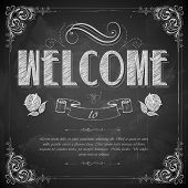 illustration of Welcome written on chalkboard
