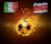 Hot soccer ball in fires flame, game beetwin Italia and Costa Rica
