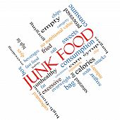 image of high calorie foods  - Junk Food Word Cloud Concept angled with great terms such as chip snacks calories and more - JPG