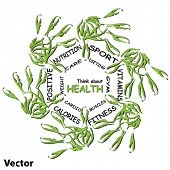 Vector concept or conceptual abstract circle health word cloud of green leaf child hand prints isola