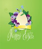 pic of forget me not  - Easter greeting card with paper egg ribbon forget me not and pansy spring flowers - JPG