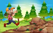 Illustration of a cheerful lumberjack near the rocks