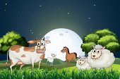 image of stroll  - Illustration of the animals at the forest strolling in the middle of the night - JPG