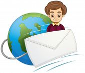 Illustration of a serious gentleman in the middle of the globe and the envelope on a white backgroun