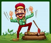 Illustration of a happy lumberjack stepping on a log with axe