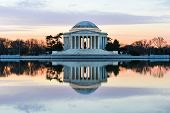 Jefferson Memorial at sunset  - Washington DC, United States