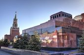 stock photo of romanov  - Lenin Mausoleum and Spasskaya tower of Moscow Kremlin - JPG