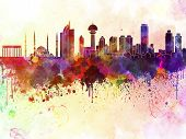 Ankara Skyline In Watercolor Background