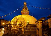 Night Shot From Swayambhunath Temple In Kathmandu