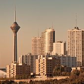 foto of tehran  - Skyline of Tehran in the orange warm glow of sunset - JPG